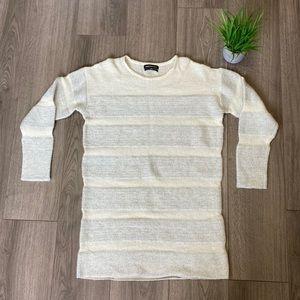 Something Navy Striped Metallic Sweater Dress XS